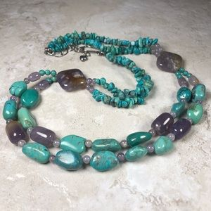 Jewelry - Amethyst and Turquoise Necklace Double Strands